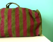 ARMY GREEN and Burgundy Duffle Bag // Unisex Duffel Bag // 1980s Perry Ellis Overnight Bag // For him OR For her // Stripes // Long Strap