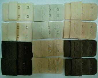 SALE 6x2=12 SKIN Bra Closures with 2 hooks by Merckwaerdigh