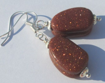 sparkling sand stone pierced dangle hand made wire wrapped earrings