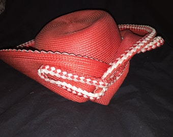 Vintage Lady's Red Straw Hat