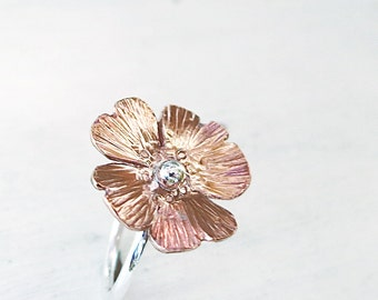 Poppy ring, Copper, Sterling Silver, hammered, Flower jewelry, Statement ring