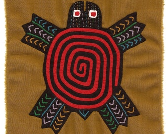 Super-Special Spiral Mola Turtle / Stellar Hand Sewn Kuna Indian Reverse Applique