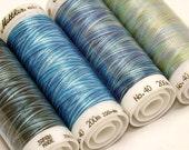 Blue Thread, Variegated Thread, Embroidery Thread, Thread Painting, Thread Art, Mettler Poly Sheen, Multi Sheen Threads, Quilt Thread, Sew