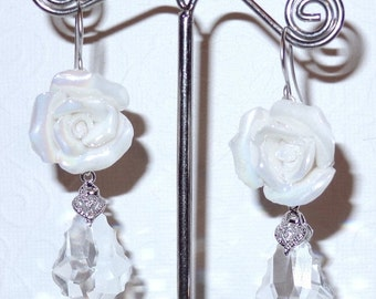ON SALE 15% OFF White Rose Earrings Wedding Accessory Porcelain White Roses Swarovski Crystals