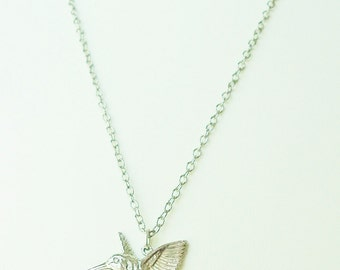 Sterling silver .925 hummingbird necklace with silver chain