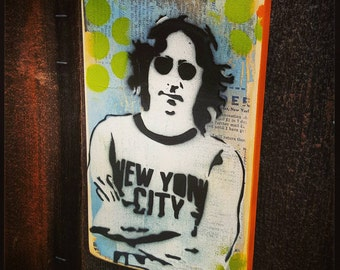 John Lennon Graffiti Painting on Canvas Pop Art Style Original Artwork Stencil Urban Street Art Beatles