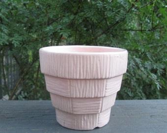 Vintage Pink Glazed Ceramic Flowerpot/ Planter