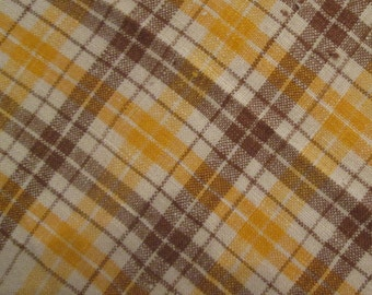 Four Vintage Nubby Woven Napkins - Small Plaid Luncheon Napkins - Gold Brown Cream