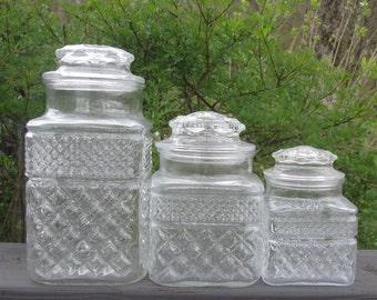 Three Vintage Wexford Storage Jars - Wexford Glass Canister Set
