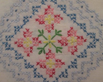 """Vintage Embroidered Cotton Tablecloth - Blue and Pink Cross Stitch on White Cotton - 54"""" by 66"""""""