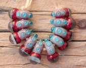 Mini Drops in red and aqua- A set of 10 lampwork beads (5mmX15mm)
