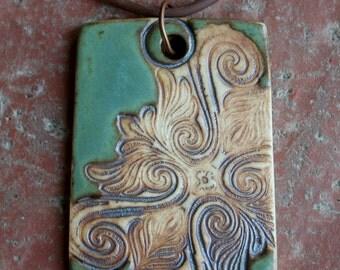 Satin Green Rustic Baroque Porcelain Pendant