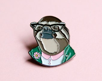 Enamel Pin - Sloth Lady - Ryan Berkley Illustration - Pin