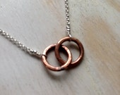 Bronze Tiny Two Circle Necklace  Infinity Necklace Entwined Together Necklace 8th & 19th Anniversary Gift Bronze Jewelry