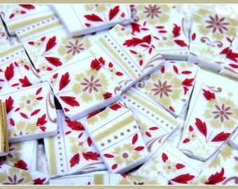 Mosaic Tiles - PeTiTE FLeUR Burgundy & Tan - 100 China Mosaic Tiles