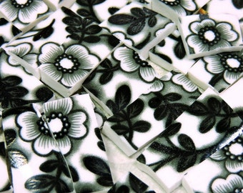 Mosaic Tiles - BLaCK and WHiTE CHiNTZ - 120 China Mosaic Tiles