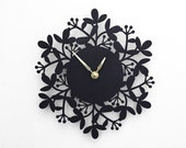 Sale, Clearance, modern wall clock, black and gold, foliage design, wood clock