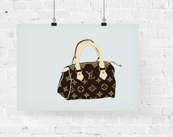 Louis Vuitton Speedy Purse Fashion Illustration Art Print