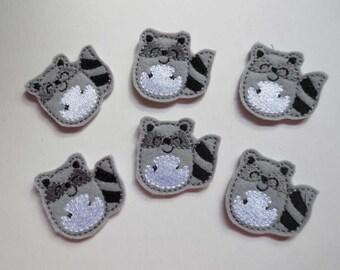 Grey Felt Raccoon Machine Embroidered Applique - 382
