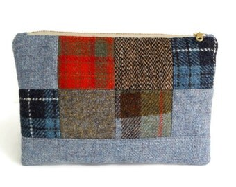 Harris Tweed - One-of-a-Kind - Patchwork Clutch - Check - Tartan - Purse - Clutch Bag