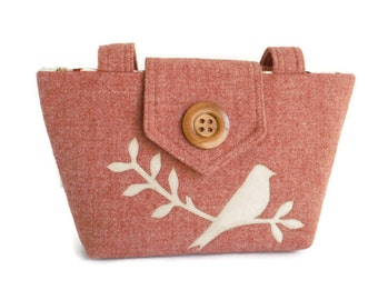 Harris Tweed - Bird on Branch - Wayfarer Purse - Shoulder Bag