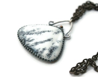 dendritic Opal Spiritual Jewelry, Long pendant, white pendant