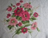 "Cottage Chic Vintage Pretty Pink Flower Linen Tablecloth  50"" x 66"" Rectangle Ecru"