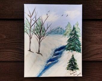 Winter stream, 8x10 Acrylic painting