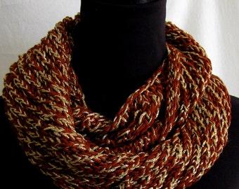 SALE #Cowl #Neckwarmer #Infinity #Circular #Scarf #High Fashion #Brown and Metallic Gold