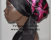 Sweet Sleep Satin Bonnet-Cap-Locs-Natural Hair-Pink-Fuchsia & Black Zebra