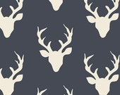 Buck Forest Twilight from the Hello Bear collection by Bonnie Christine for Art Gallery Fabrics HBR-4434-3 Deer Silhouette Silo Antlers Navy
