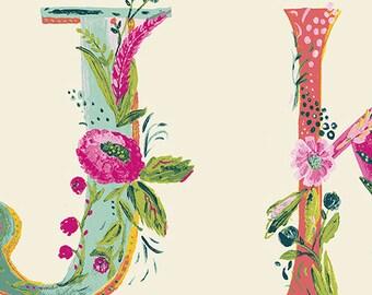 Alphabet Joyeux - Joie de Vivre - Bari J. - Art Gallery Fabrics - JOI-79129 - Letters Illustrated Blue Pink Vine Green