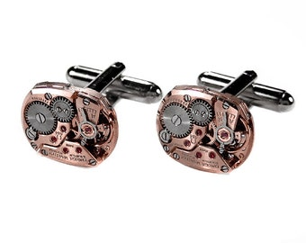 OMEGA Rose Gold Cufflinks Mens Watch Cuff Links Steampunk Anniversary Wedding Groom, Groomsmen Fiancee Cufflinks  - Jewelry by edmdesigns