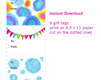 Original Art Gift Tags - Downloadable - Printable