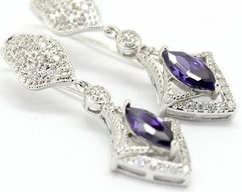 Amethyst Earrings,Eggplant Bridal Jewelry,Violet Purple,Cubic Zirconia White Gold Sterling 925,Wedding Victorian Earrings