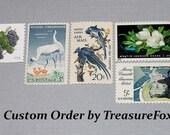 Reserved Custom Order for nancy. Unused Vintage US Postage Stamps for mailing wedding invitations