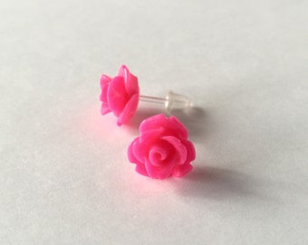 Kawaii Stud Earrings Hot Pink Roses Post Earrings Opaque Flowers No Metal Acrylic Posts Hypoallergenic Sensitive Ears Waterproof Jewelry