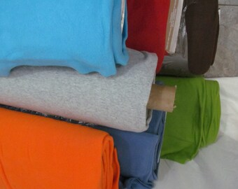 SALE - Fleece Fabric Solid Colors BTY - green, orange, aqua, French blue, black, red to use for ponchos, scarves, mittens or blankets