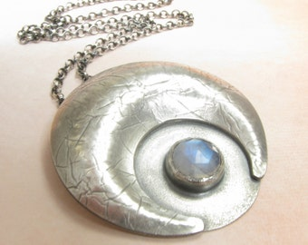 Large Sterling Silver Moon Pendant Necklace, Rainbow Moonstone Necklace, Crescent Moon Moonstone Pendant, Metalsmith Statement Jewelry