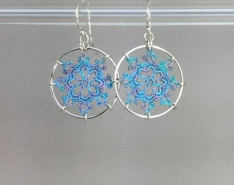 Nautical doily earrings, blue-lavender hand-dyed cotton thread