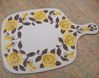 Vintage 70's seventies Retro Chopping Board Yellow Roses Melamine