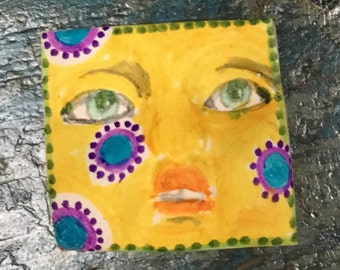 Handmade clay face  square jewelry craft supplies cabochon faces polymer