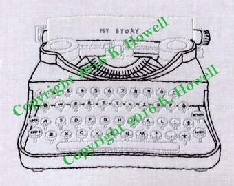 Typewriter, Hand Embroidery Pattern, Antique, Vintage, Writer, Type, PDF