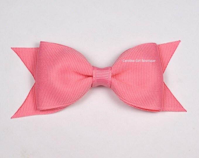 "Old Rose Tuxedo Bow ~ 3.5"" Hairbow ~ Small Hair Bow ~ Girls Barrette ~ Toddler Bow ~ Baby Hair Bow ~ Hair Clip ~ Girls Hair Bow"
