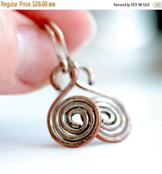 Copper Earrings, Spiral Earrings, Hammered Wire Earrings, Rustic Earrings, Everyday Earrings, Coil Earrings, Metalwork Jewelry