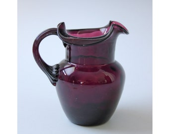 Vintage amethyst pitcher or vase with flared rim