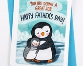 Doing a Great job New Dad Card - First Father's Day card Sweet Fathers Day Card for New Dad Card from baby Father's day gift Penguin Dad