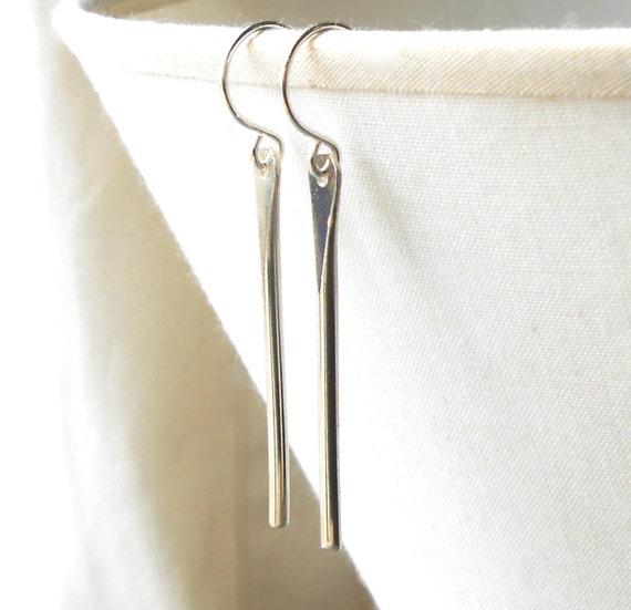 Sterling Silver Bar Earrings, Silver Dangle Minimal Drop Earrings, Minimalist Jewelry