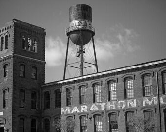Nashville Marathon Motorworks Building, Black and White Photograph, Nashville Photography, Marathon Village