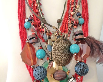 Southwestern Necklace Jewelry Lot 6 Necklaces 9 Earrings 2 Bracelets Vintage Jewelry Turquoise Coral Lot TUR *